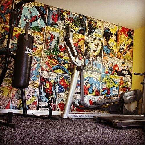 Superhero home gym wall mural  Marvel Comics Avengers wallpaper  Geek Gym  Decor    Superhero Gym  Home Gym Decor Ideas   Pinterest   Toilets  Geek  culture. Superhero home gym wall mural  Marvel Comics Avengers wallpaper