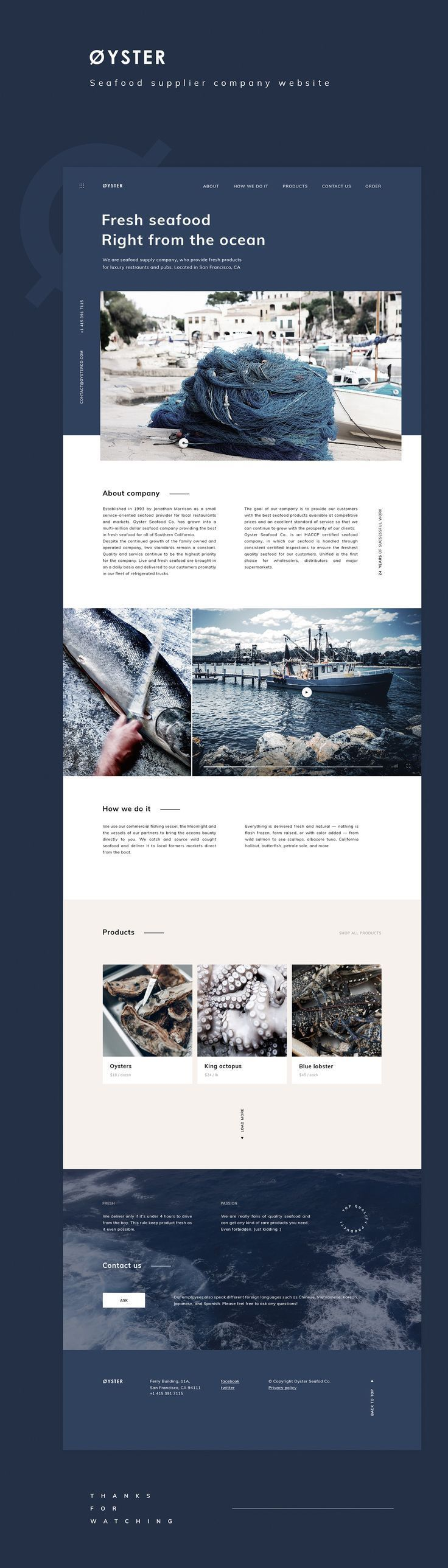 Øyster - Seafood supplier company website design