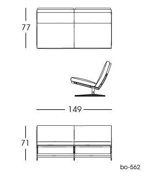bo-562 Sofa, 2 persons 2D | Fabricius & Kastholm for bo-ex furniture. http://www.bo-ex.dk/project/bo-562/