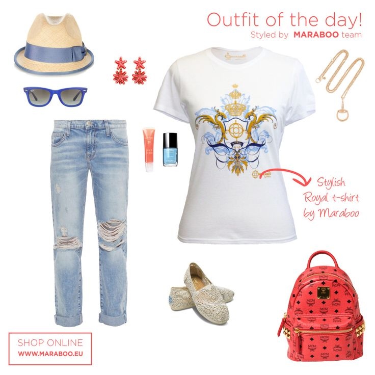 Ripped jeans,Principal blues t-shirt $39.90€,straw hat