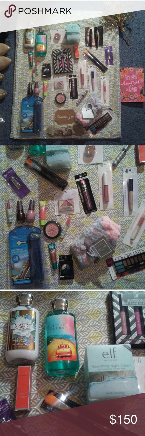 """🆕 NWT HUGE BEAUTY LOT 🆕 Everything listed is 🆕   Bath & Body Works Magic in the air lotion Bath & Body Works Endless Weekend shower gel Charter Club Super Soft Socks Misty Mate Personal Mister  Almay Smart Shade #10 Pink Rose Blush 2 Covergirl Smoochies Sizzle Gloss #556 """"Glow for it"""" & 540 """"Hot Stuff"""" 2 Covergirl Natureluxe Gloss Balm #255 """"Marble"""" & #225 """"Anemone"""" 2 Kylie Jenner for Sinful Colors Demi-Matte Trend Matters Velvet Nail Polish in """"I klove you"""" & """"Mauve on""""  ⬇LOOK IN…"""