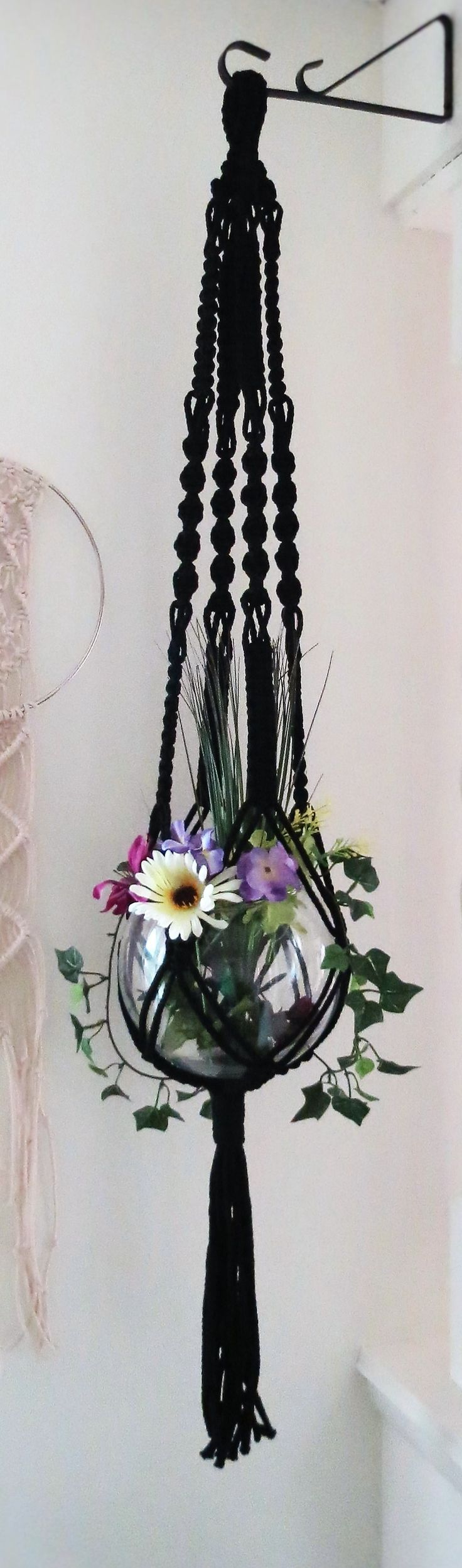 "BLACK plant hanger, 45"", macrame hanging planter, pot holder, hanging basket, dark, gothic, gift, house plant hanger, indoor, outdoor, 70s"