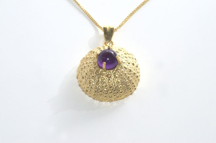 Sea Urchin Handcrafted pendant. This beautiful gold plated necklace inspired by the sea treasures is made of silver 925 and features an amethyst semi precious stone. http://www.facebook.com/LillysPapillon