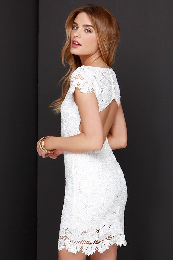 Strike a Poise Ivory Lace Backless Dress at Lulus.com!