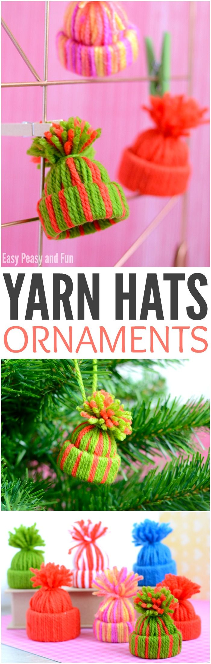 Mini Yarn Hats Ornaments – DIY Christmas Ornaments                                                                                                                                                                                 More