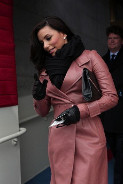 Pink leather trench coat. #business style,  Eva Longoria, Presidential Inauguration
