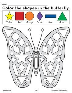 Preschool Butterfly Shapes Worksheet