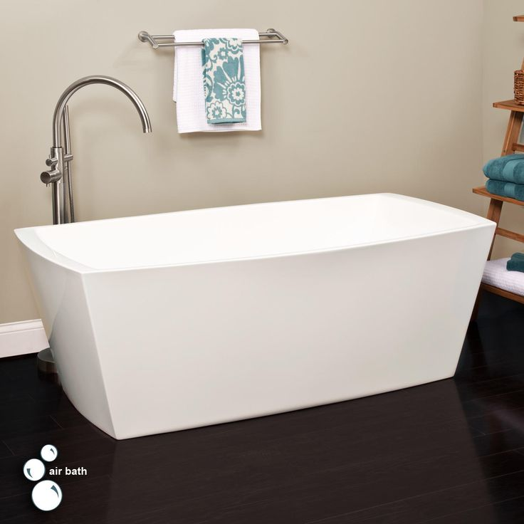"""67"""" Avie Acrylic Freestanding Air Tub - No Overflow or Faucet Holes"""