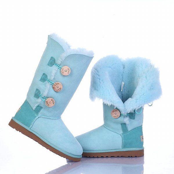 UGG Bailey Button Triplet Boots 1873 Light Blue $120.99