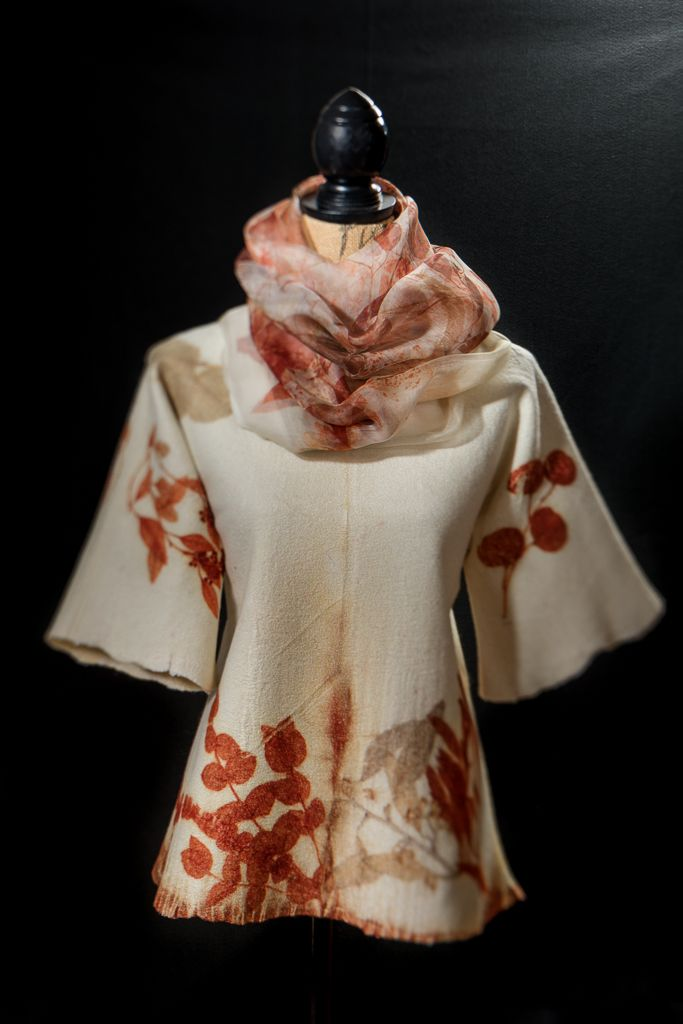 Sara Felts - Nuno felted pullover tunic with a silk organza shawl eco printed with eucalyptus.