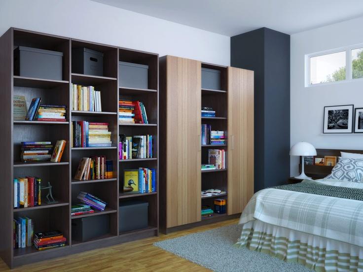 Großer Einbauschrank für das Schlafzimmer mit den Dekoren Zebrano und Graphit.
