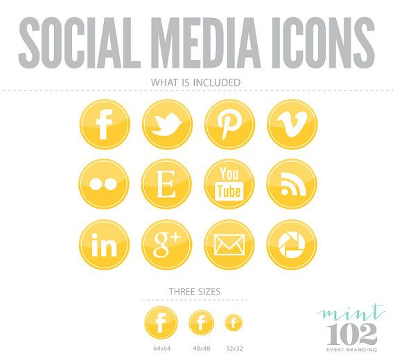 Yellow social media icons by mint102 on etsy logo for Free social media icons for business cards