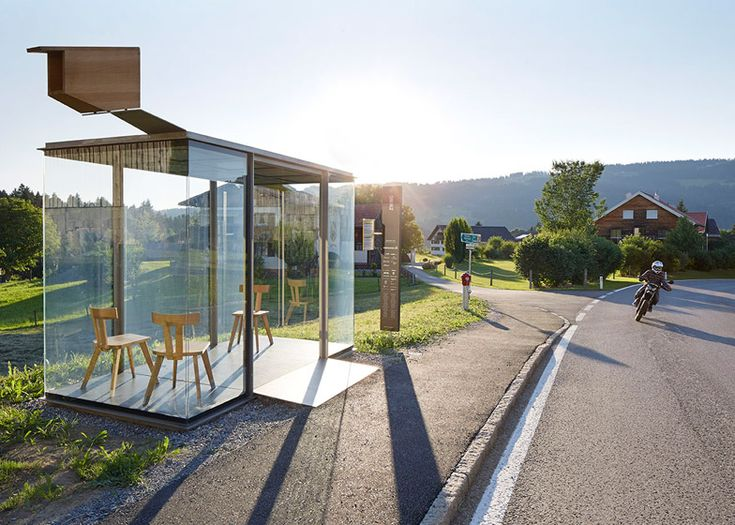 Architect-designed bus stops in Krumbach photographed by Hufton + Crow.