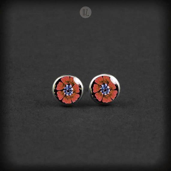 Studs Coral Poppy Flowers Mini handmade folk jewelry from
