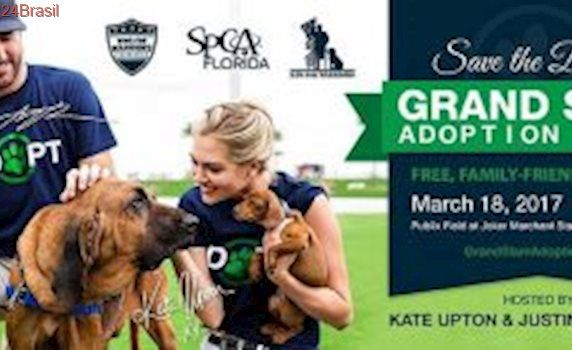 Modelo Kate Upton e o noivo Justin Verlander apadrinham evento em prol de animais