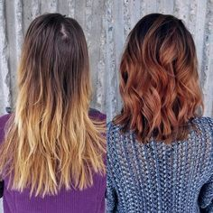 Color and cut by Monica. Montana Stylist. Makeover, before and after, transformation, ombré, balayage, auburn hair, hair color, fall color, lob.