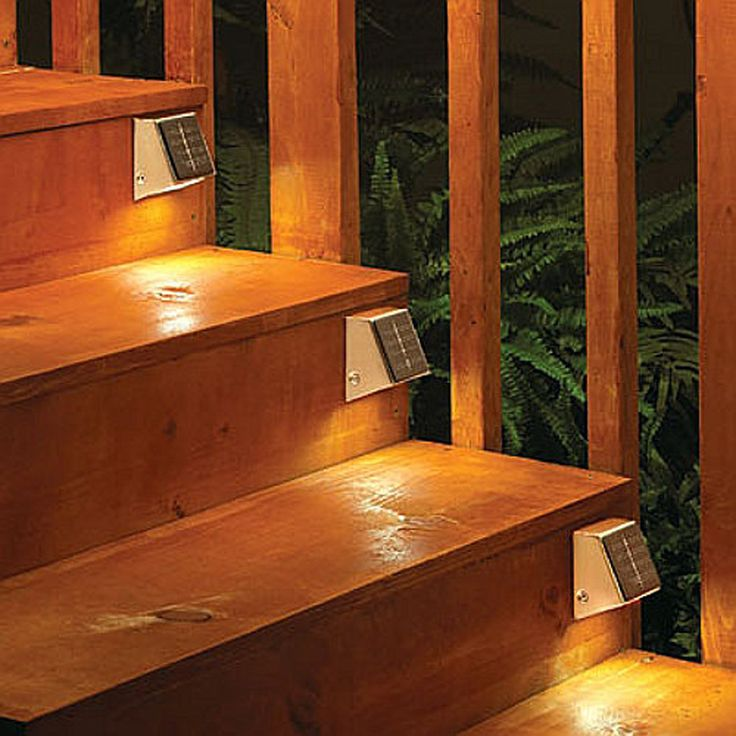 This easy-to-install, wireless compact Solar Wedge light is great for deck posts, fence posts, mailboxes, and address signs. Add one to your entryway, or anywhere a little extra light is needed. GREAT AS STEP LIGHTS. Made of stainless steel and frosted glass pane, each wedge contains 2 LED lights which project 4 feet.