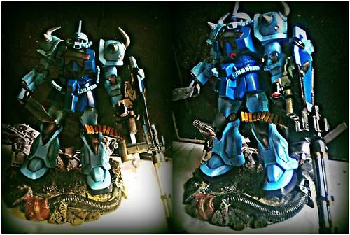 HGUC 1/144 Gouf Custom (with Marvel Select Venom Flash Thompson's Diorama Base)