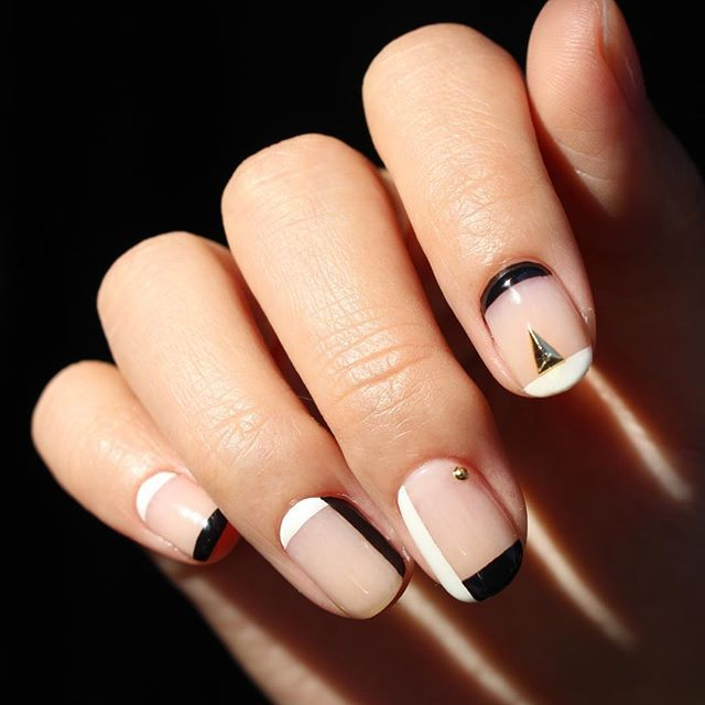 geometric charm nails