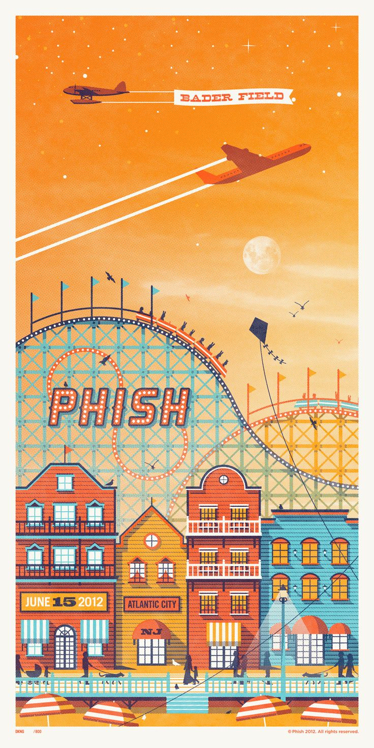 DKNG Studios: Graphics Design Illustrations, Posters Series, Bader Fields, Gig Posters, Posters Design, Atlantic Cities, Concerts Posters, Phish Posters, Dkng Studios