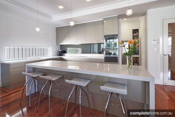 Sleek Ideas For Kitchen Design With Islands: Caesarstone Benchtop, Grey Cabinets