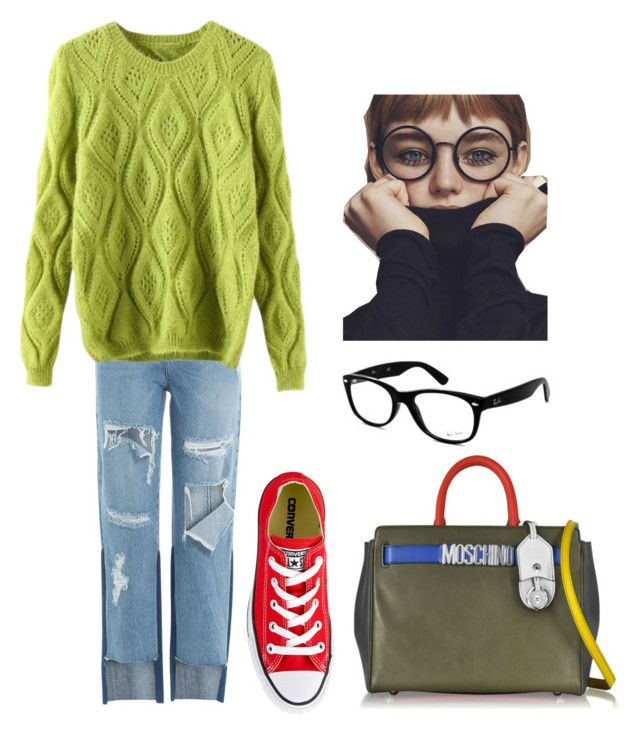"""denim"" by victorya89 on Polyvore featuring мода, SJYP, Converse, Ray-Ban и Moschino"