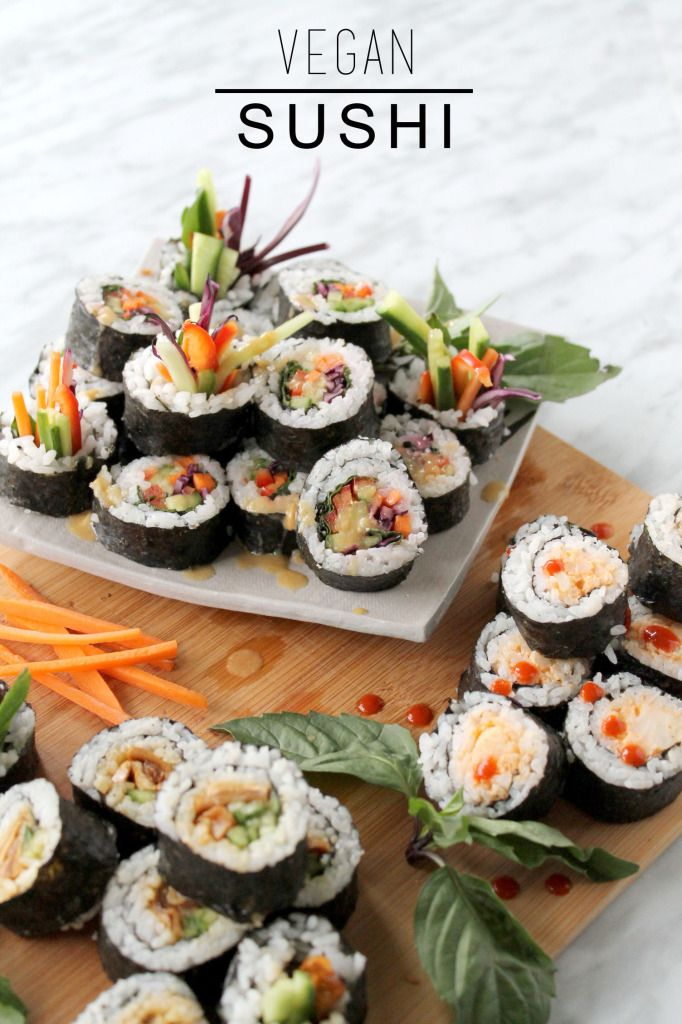 Healthy Vegan Sushi: rainbow roll, spicy cauli, teriyaki mushroom. My fave is the spicy cauli!