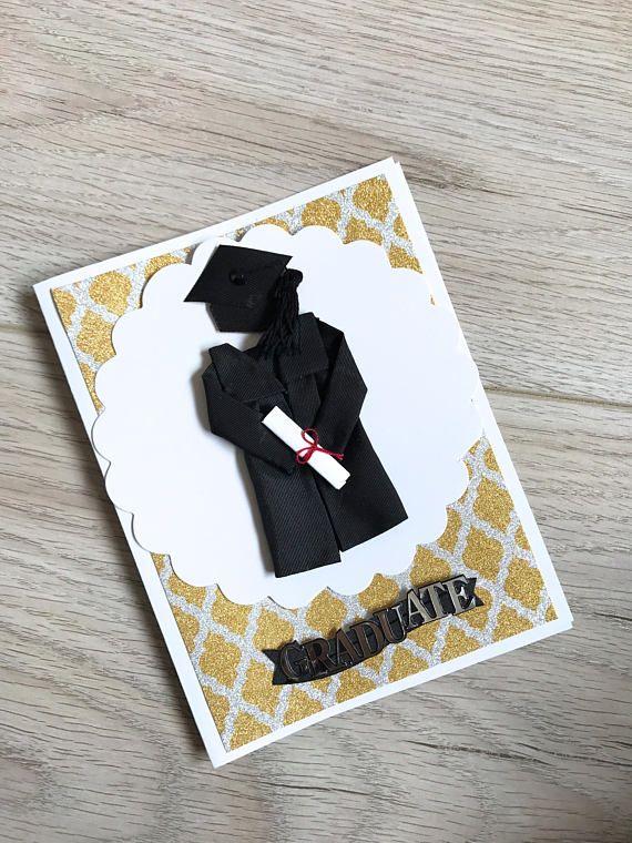 Graduation Card // Handmade Card // Black and Yellow