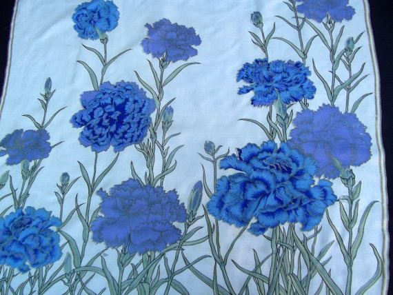 Blue carnations print vintage scarf Thai silk by CHEZELVIRE, $11.00