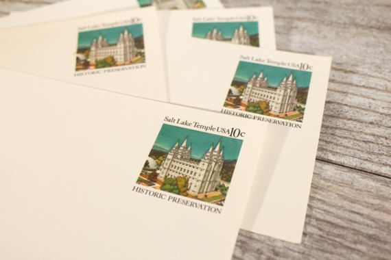 Vintage SLC Temple Salt Lake City LDS Postcards 1980 Stamped