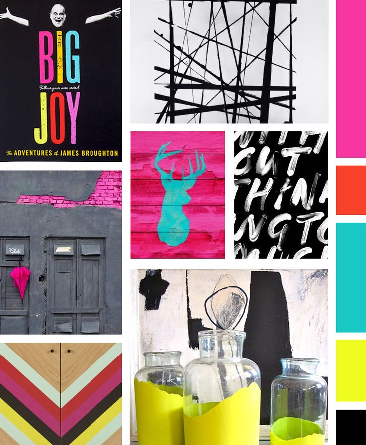Bold, Urban and Graphic Mood Board / Made Vibrant #colorpalette #moodboard #design
