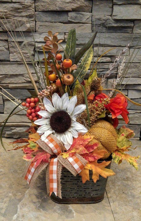 Fall Floral Arrangement Thanksgiving Centerpiece White Sunflower Burlap Pumpkin Autumn Centerpiece Harvest Arrangement Galvanized Tin