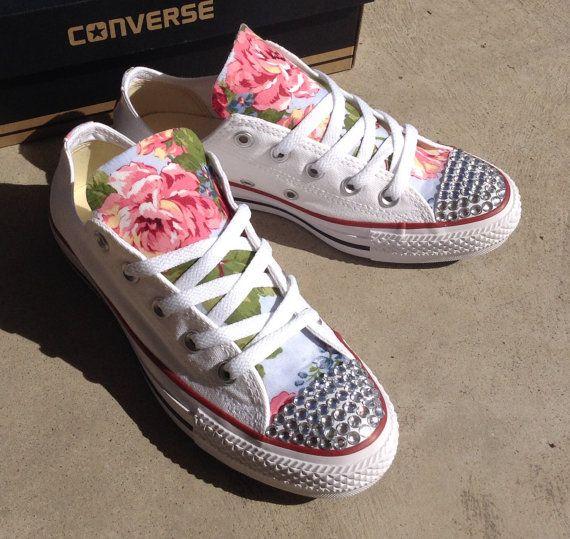 Strass Blumen Converse Schuhe