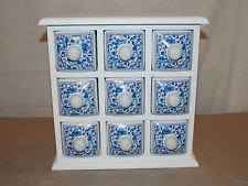 NEW WOOD & CERAMIC 9 DRAW HERB SPICE CHEST BOX APOTHECARY CABINET STORAGE HOLDER
