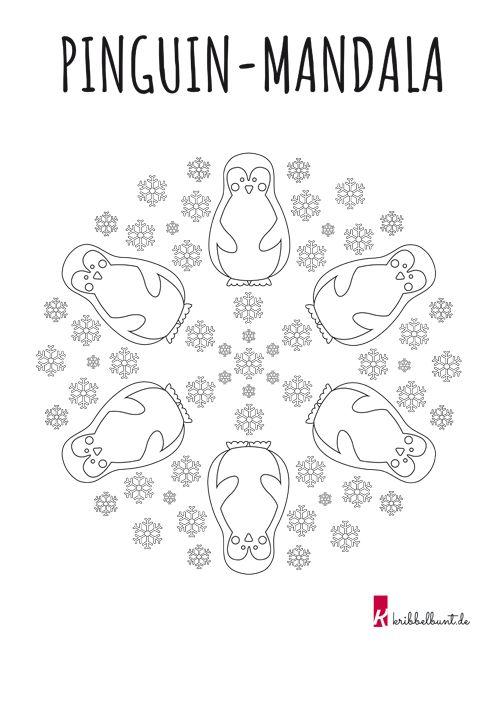 ausmalbild pinguinmandala  malen mit kindern im winter
