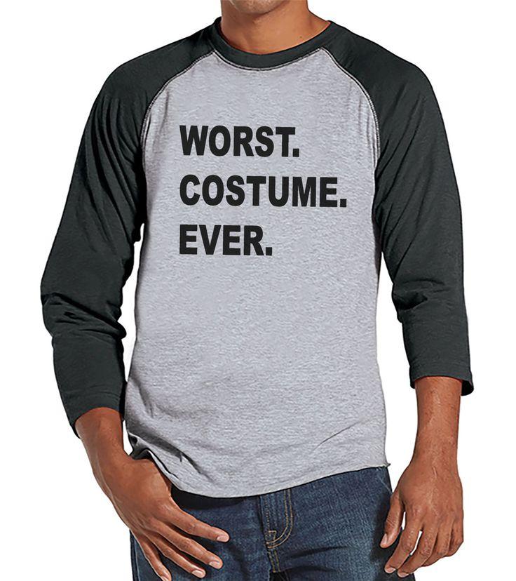 Worst Costume Ever - Adult Halloween Costumes - Funny Mens Shirt - Mens Costume Tshirt - Mens Grey Raglan Tee - Mens Happy Halloween Shirt
