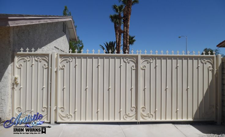 Powder Coated Wrought Iron Driveway Gate And Matching Side