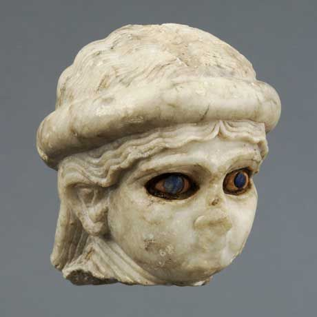 """""""Head of a goddess,"""" Iraq, excavated from Ur, Akkadian Period, 2350–2150 BCE; marble, shell, and lapis lazuli; H: 3 ¾ in. (9.5cm), W: 31⁄8 in. (8cm), D: 33⁄8 in. (8.5cm); University of Pennsylvania Museum of Archaeology and Anthropology, Joint British Museum/University Museum Expedition to Mesopotamia, 4th Season, 1925–1926, B16228 Hallie Ford Museum of Art – A Quiet Gem in Downtown Salem (Salem, Oregon, USA) Details about the exhibition and all related events can be found here"""