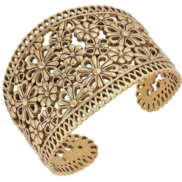 Lucky Brand Baltic Wonders Floral-Openwork Cuff Bracelet (€42) ❤ liked on Polyvore featuring jewelry, bracelets, gold, floral cuff bracelet, cuff bracelet, lucky brand jewellery, cuff bangle and hinged cuff bracelet