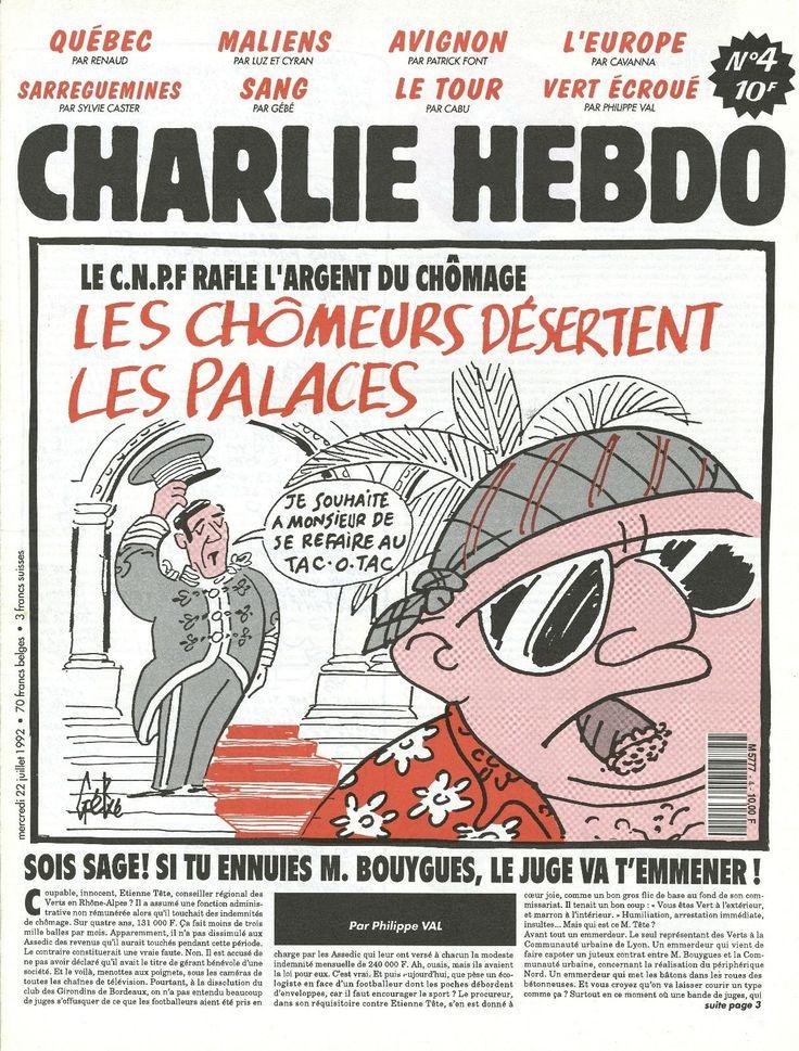 Charlie Hebdo - # 4 - 22 Juillet 1992 - Couverture : Gébé