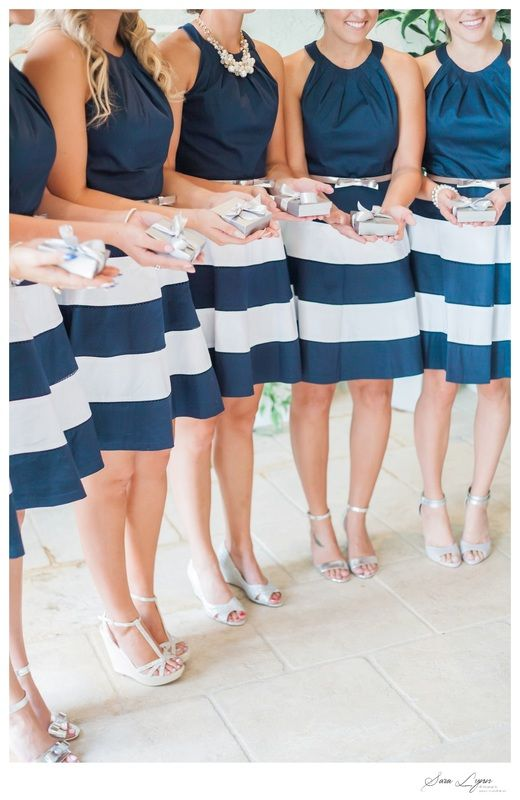 Get your bridesmaids into high (sea) spirits with gorgeous navy blue and white striped dresses!