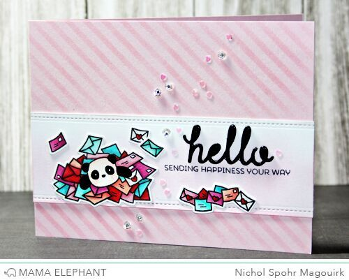 Hello Card featuring Mama Elephant Incoming Mail Stamps and Venice Envelope Dies. #mamaelephant #incomingmail #veniceenvelopedies