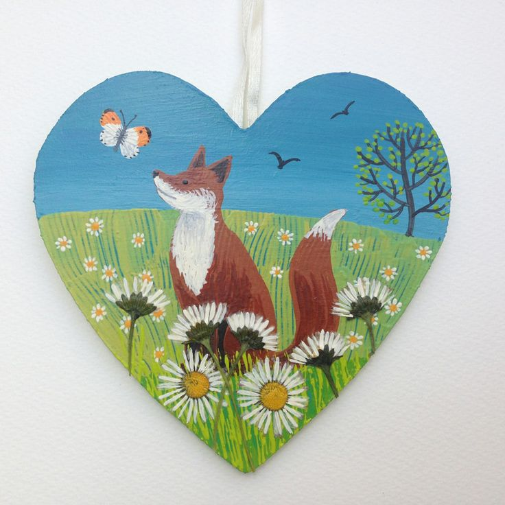Fox Among the Daisies - mixed media wooden heart with real pressed daisies. (SOLD)