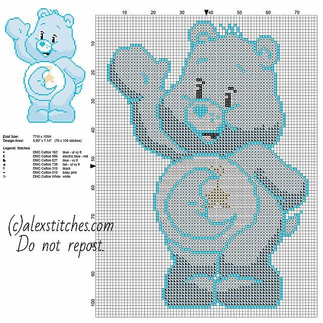 Bedtime Bear one of the original Care Bears free cross stitch pattern 70 x 100 stitches 7 DMC threads