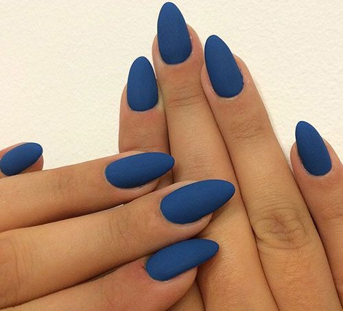 Blue Matte Stiletto Nails
