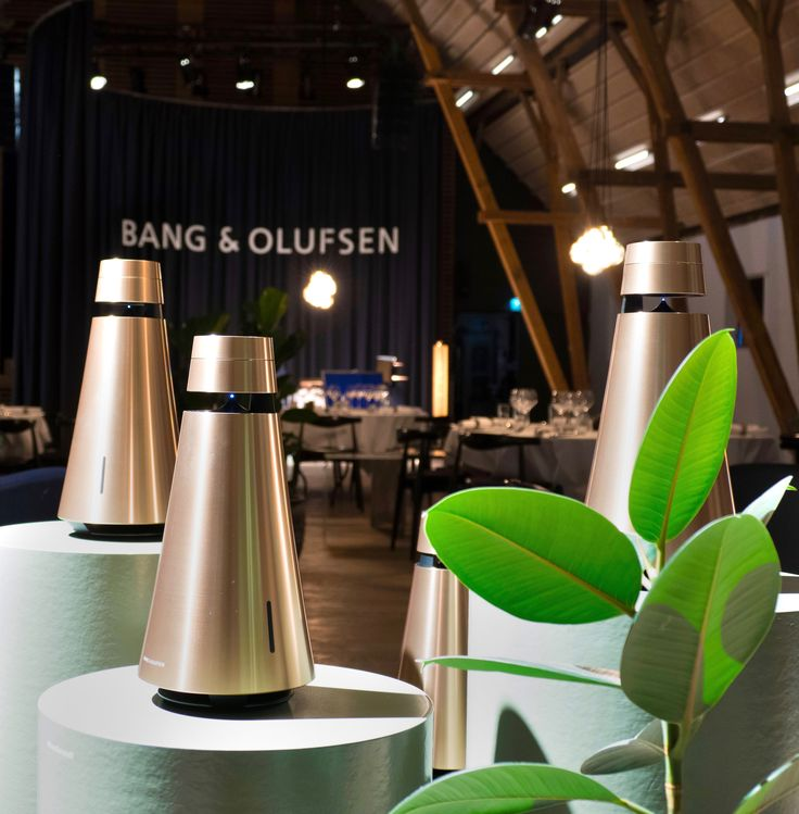 Cool Modern Collection event in Struer, with BeoSound 1 dressed in Brass.