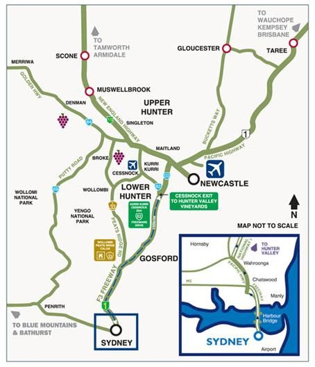Map - Getting to the Hunter Valley