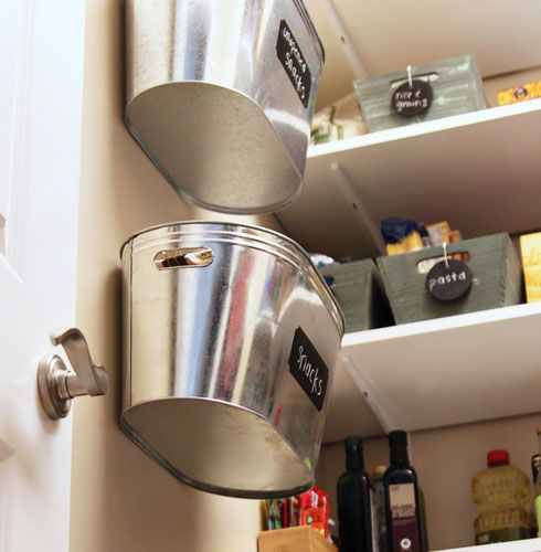 Small Kitchen Organizing Ideas - Hanging Metal Bins - Click Pic for 42 DIY Kitchen Organization Ideas & Tips