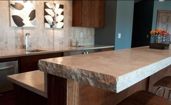 Limestone Countertop with rough edge. Love this unfinished look! your thoughts?