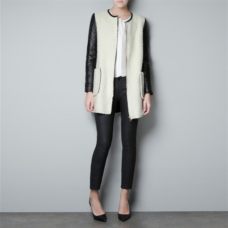 $43.99 Leather Sleeve White Coat @MayKool
